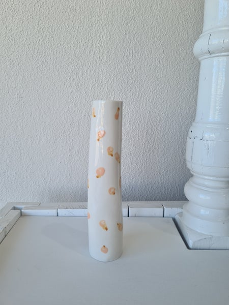 Image of Ceramic vase. Peach print glaze. Large. Tea4two art.