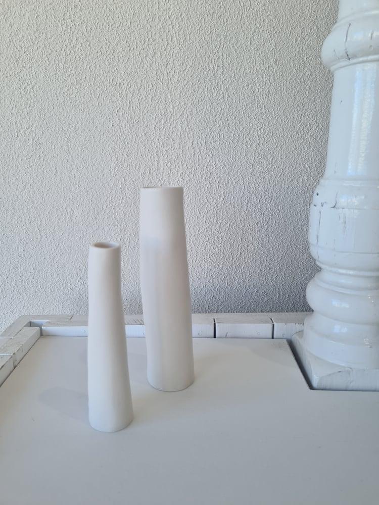 Image of White Ceramic Vase. Medium. Tea4twoart.