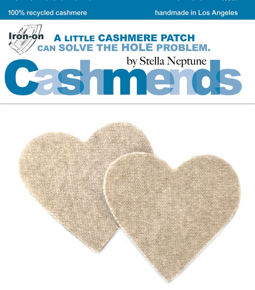 Image of IRON-ON CASHMERE ELBOW PATCHES - LIGHT OATMEAL