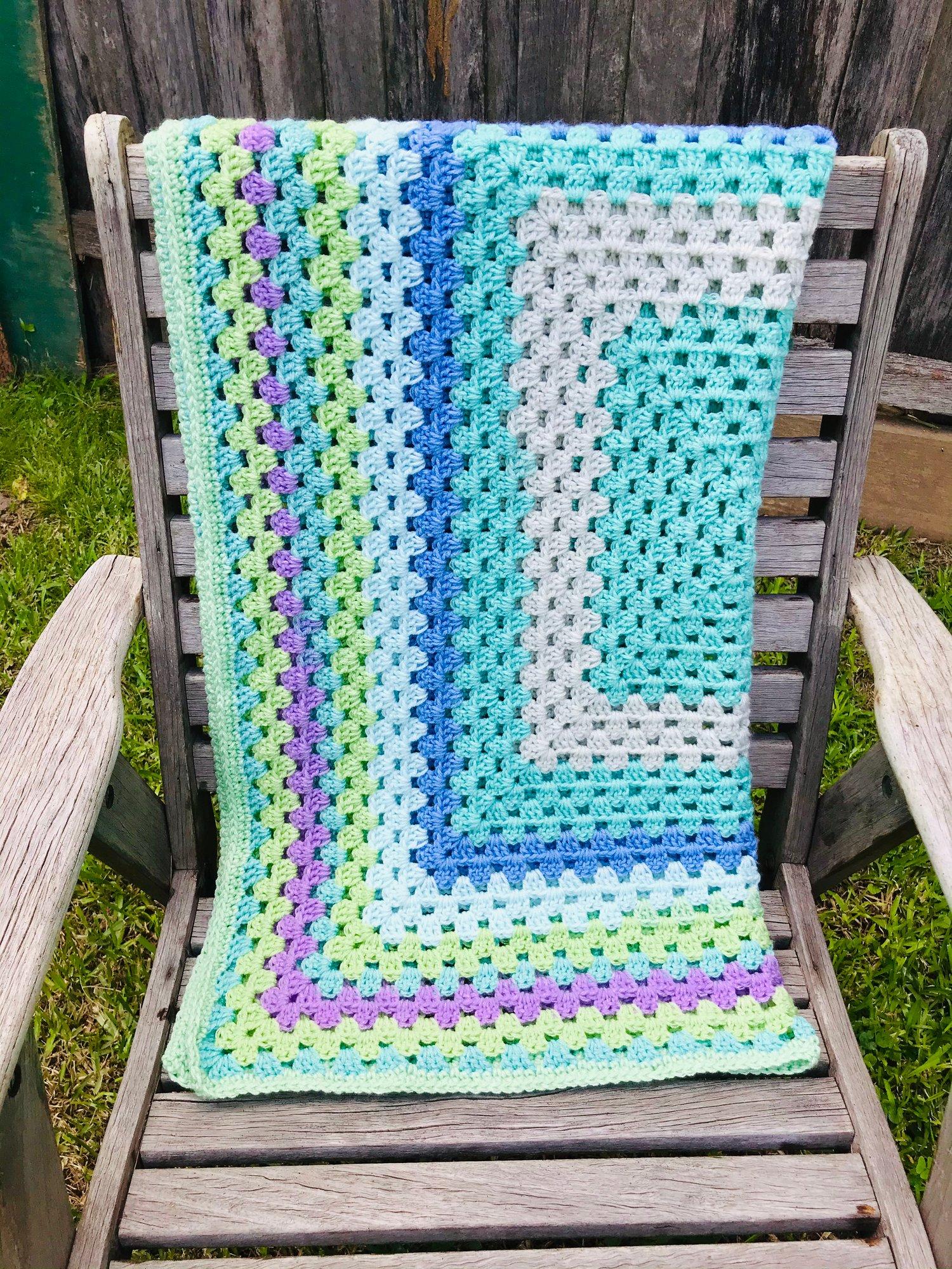 Image of Custom Made Crocheted Granny Square Blanket
