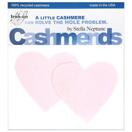 Image of Iron-On Cashmere Elbow Patches - Pale Pink Hearts