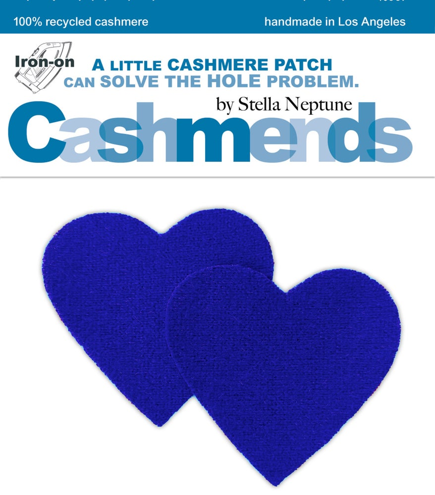 Image of Iron-On Cashmere Elbow Patches - Electric Blue Hearts