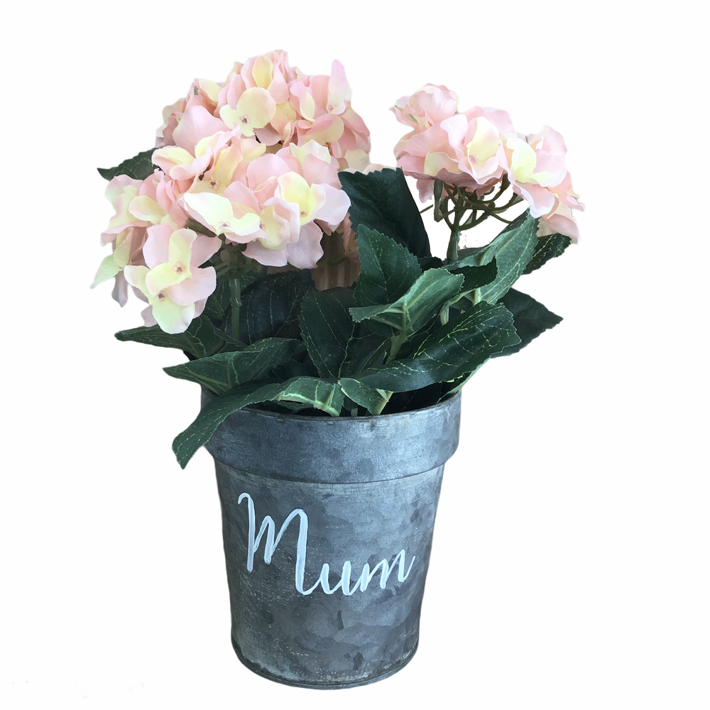 Image of Zinc Hand-painted Mum pot with a Faux Blush Pink Hydrangea