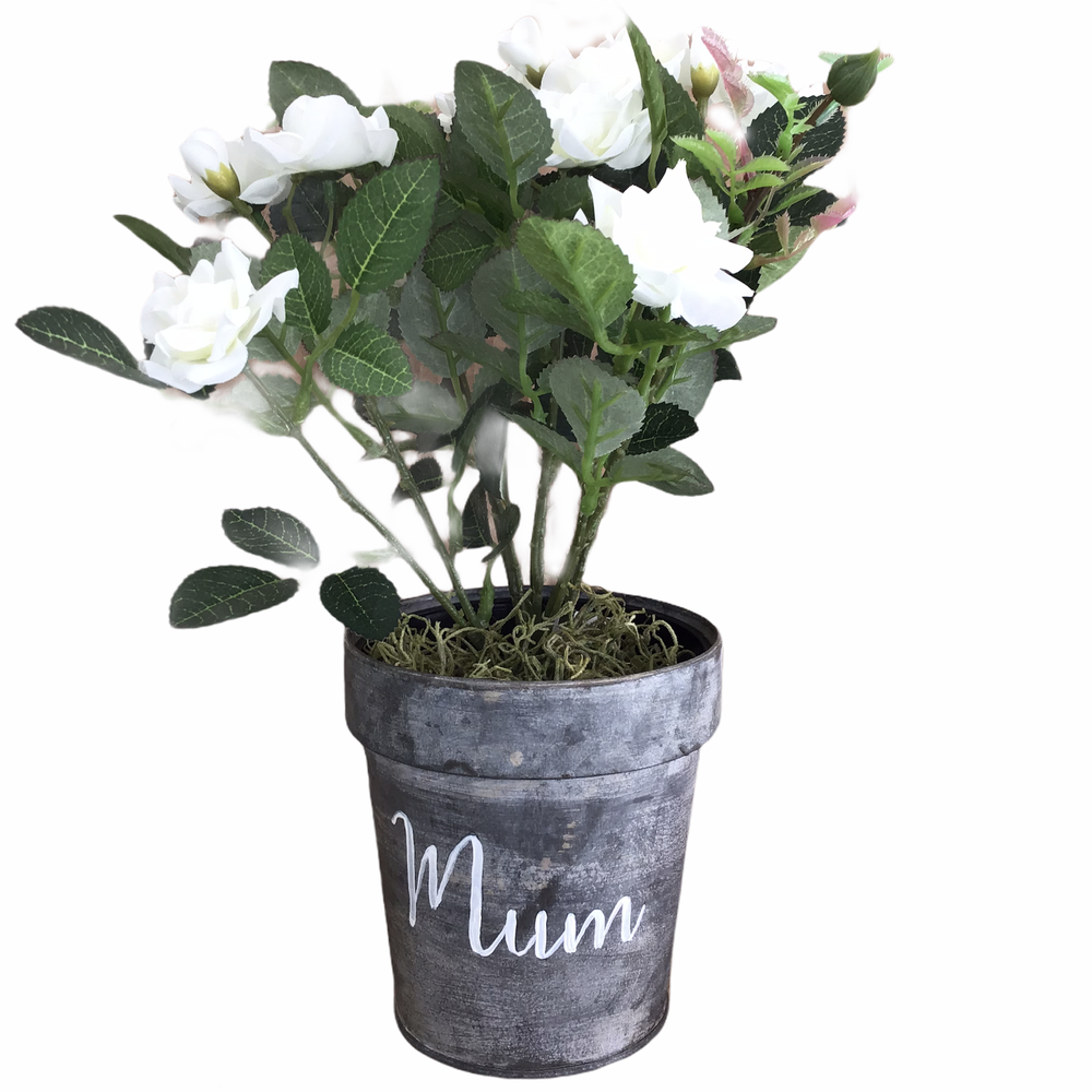 Image of Zinc Hand-Painted Mum Pot with Faux White Rose