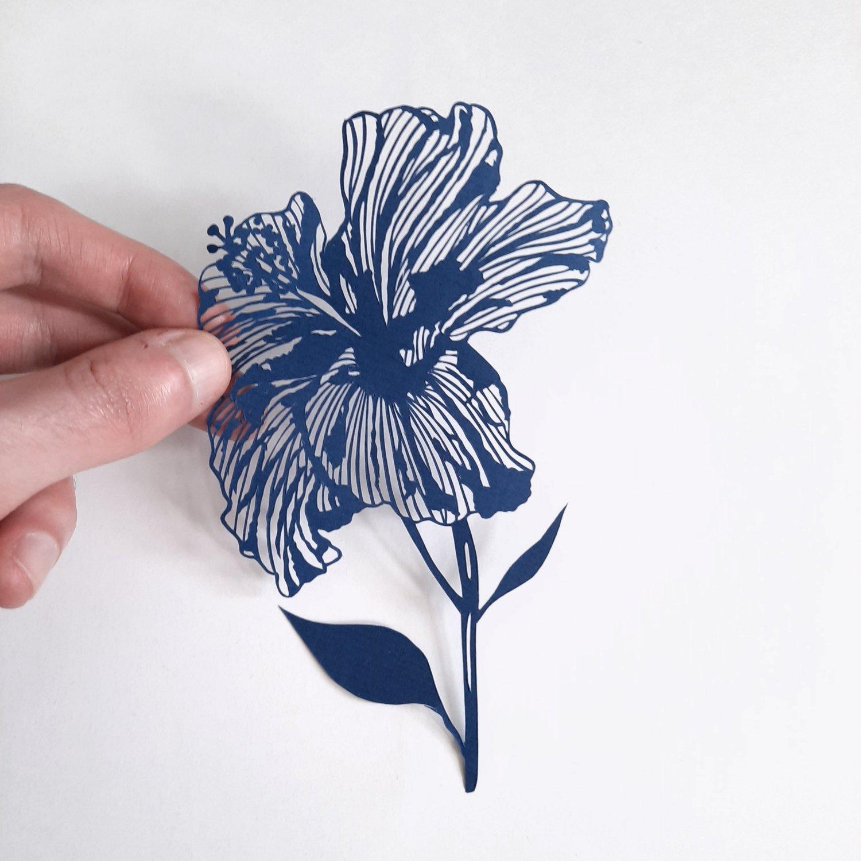 Image of Hand Cut Paper Hibiscus