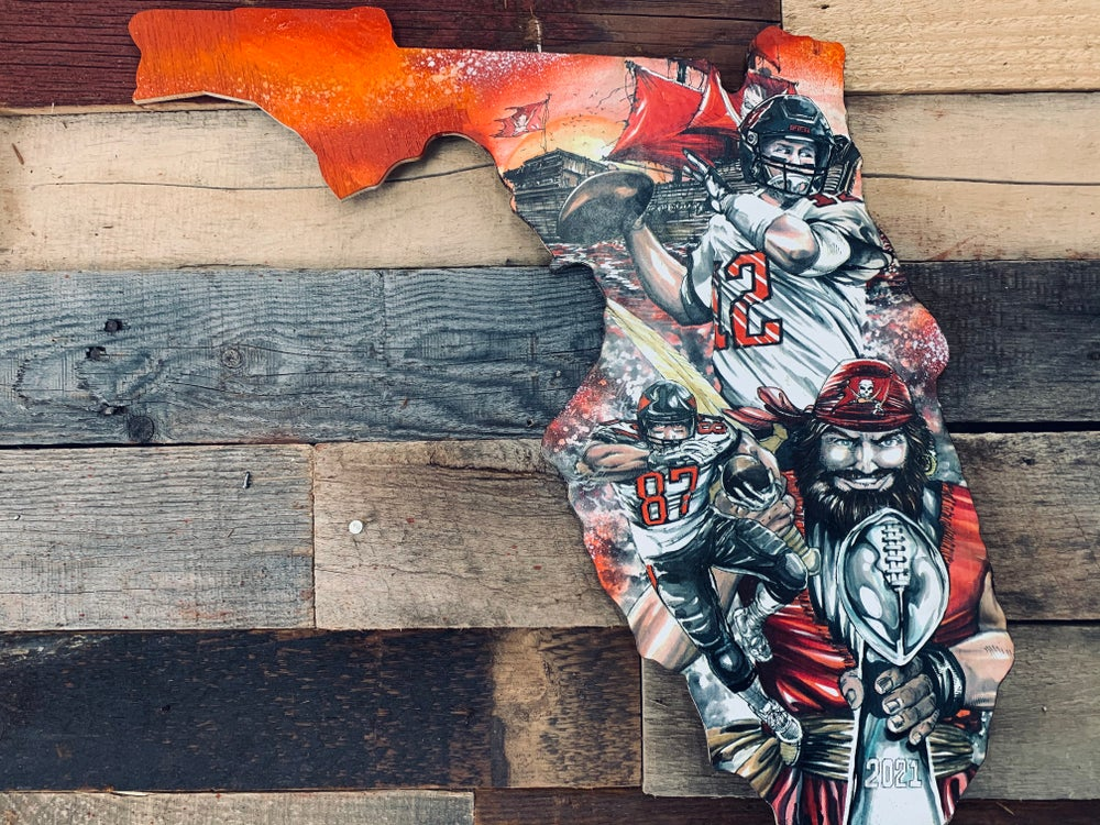 """Image of """"Champa Bay Bucs """"Super Bowl 2021 ( 2nd cut) (Hand Painted Reproduction)"""