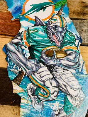 "Image of ""Miami's South Beach Dolphins Dash""( Hand Painted Reproduction)"