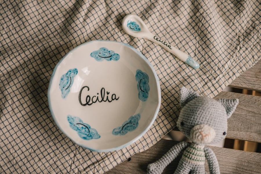 Image of Set Infantil de Cuenco y Cuchara de cerámica personalizada