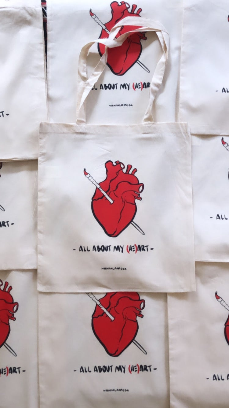 """Image of Tote bag """"all about my (he)art"""""""