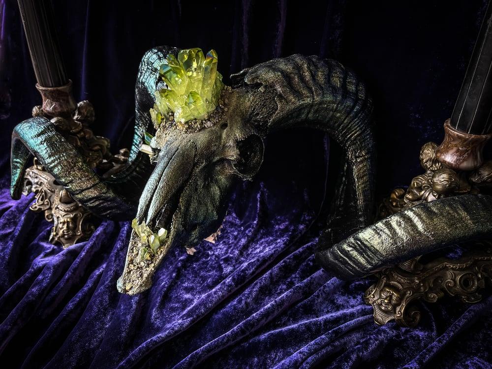 Image of Green Aura Quartz - Ram Skull