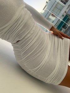 Image of White Get Ruched Mini Skirt