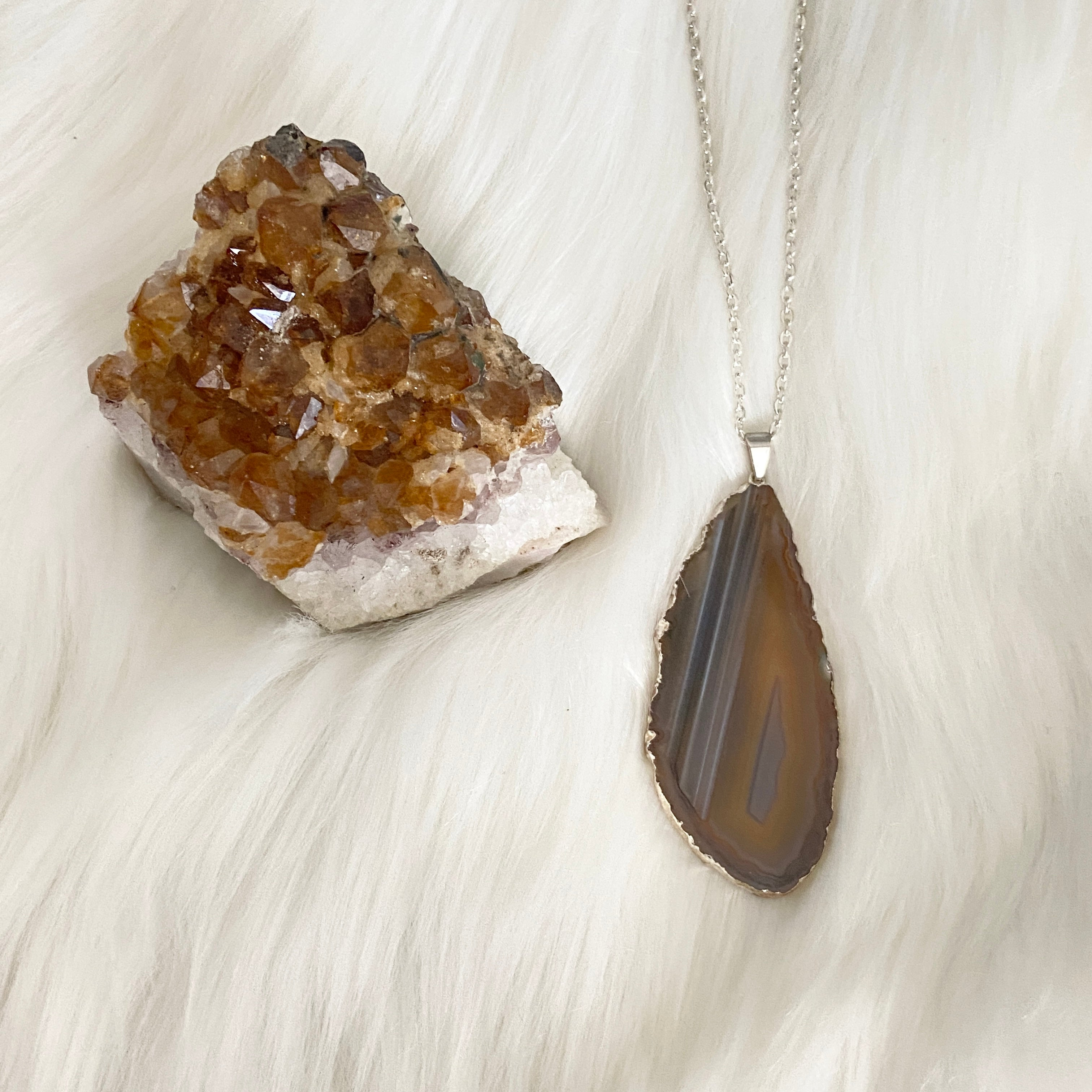 Upcycled fabric and natural agate slice necklace  rustic jewelry  olive  earthy  earth tones  woodsy witch  nature punk  shabby boho