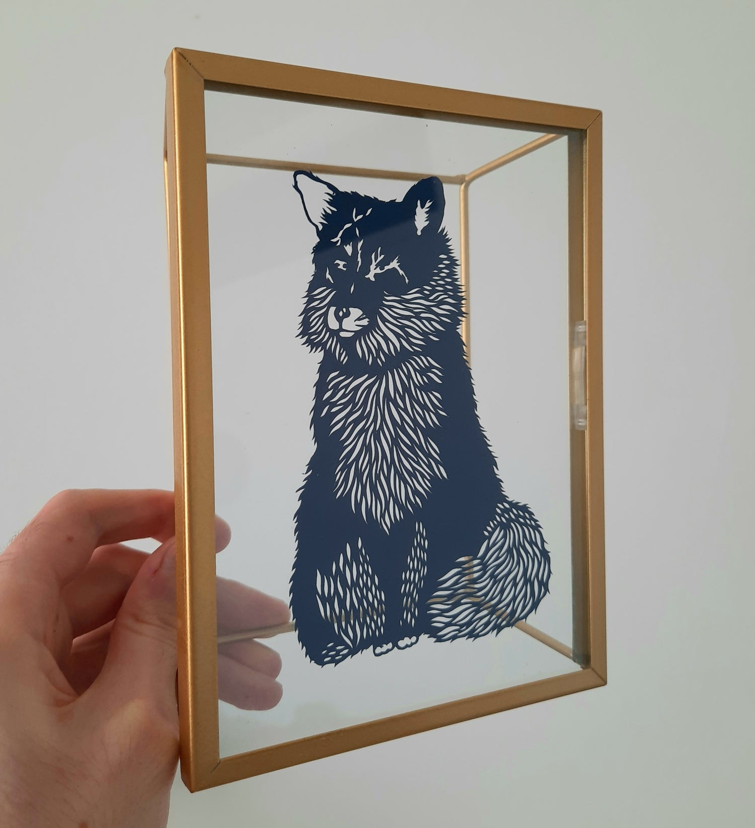 Image of Hand Cut Fox in Glass Frame