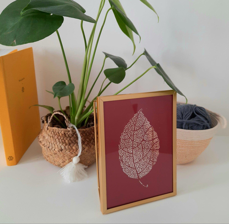 Image of Framed Red Paper Cut Leaf