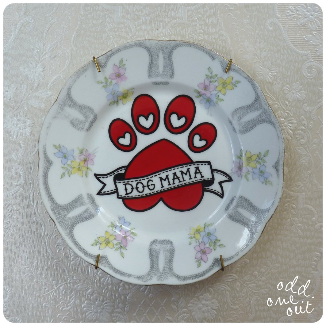 Image of Dog Mama - Hand Painted Vintage Plate