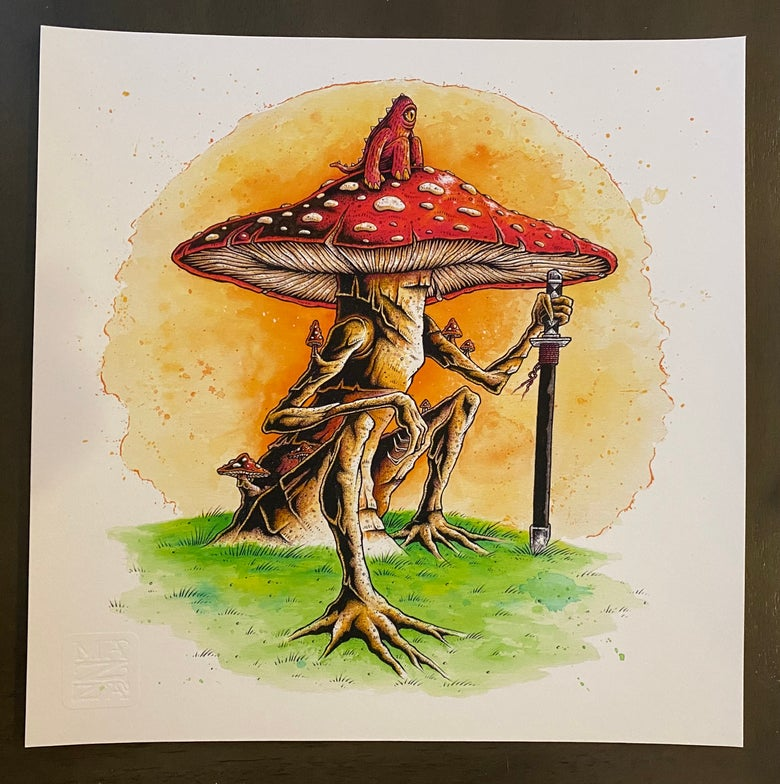 Image of Shroom Rider - Fine Art Giclee on Cold Press Somerset