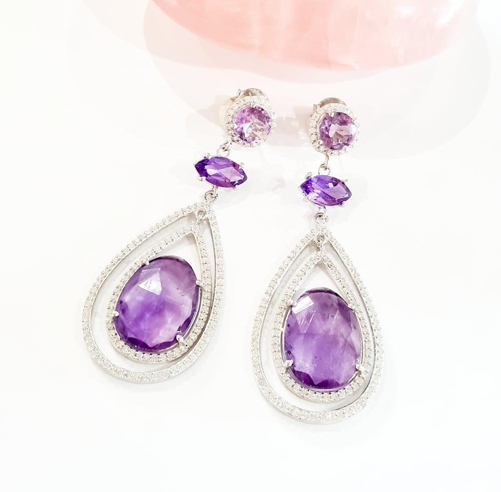 Image of 925 Silver Amethyst Statement Earrings