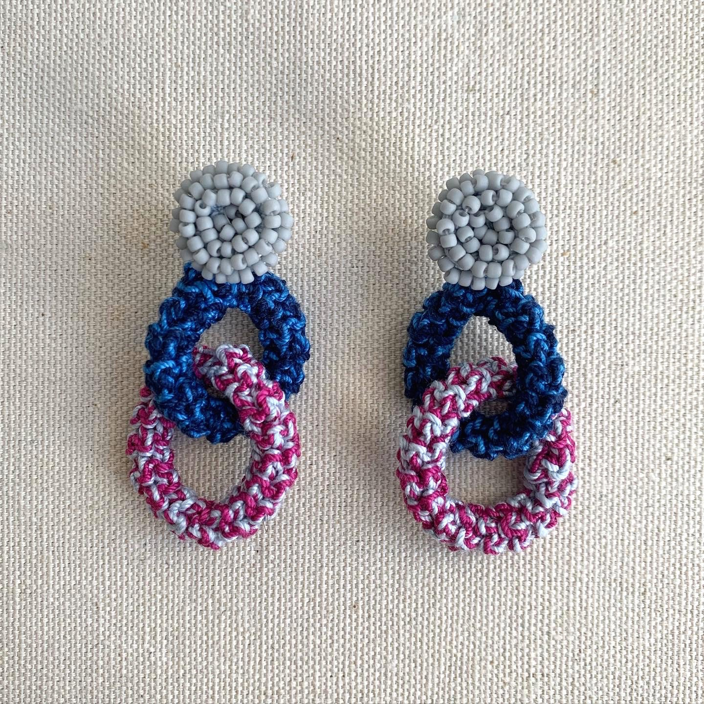 Image of Blue and Magenta Bonded Together Earrings