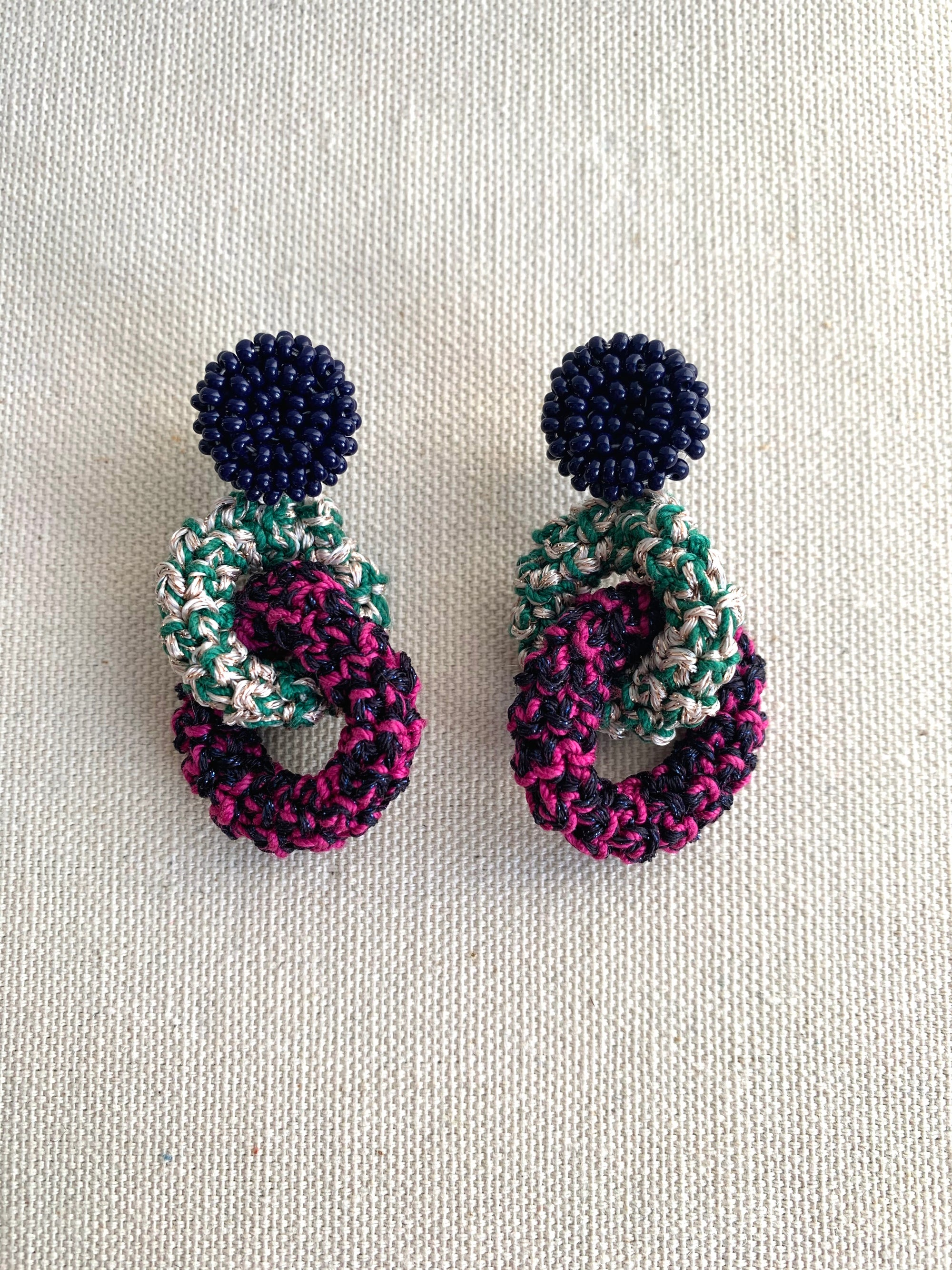 Image of Dark Blue and Green Bonded Together earrings