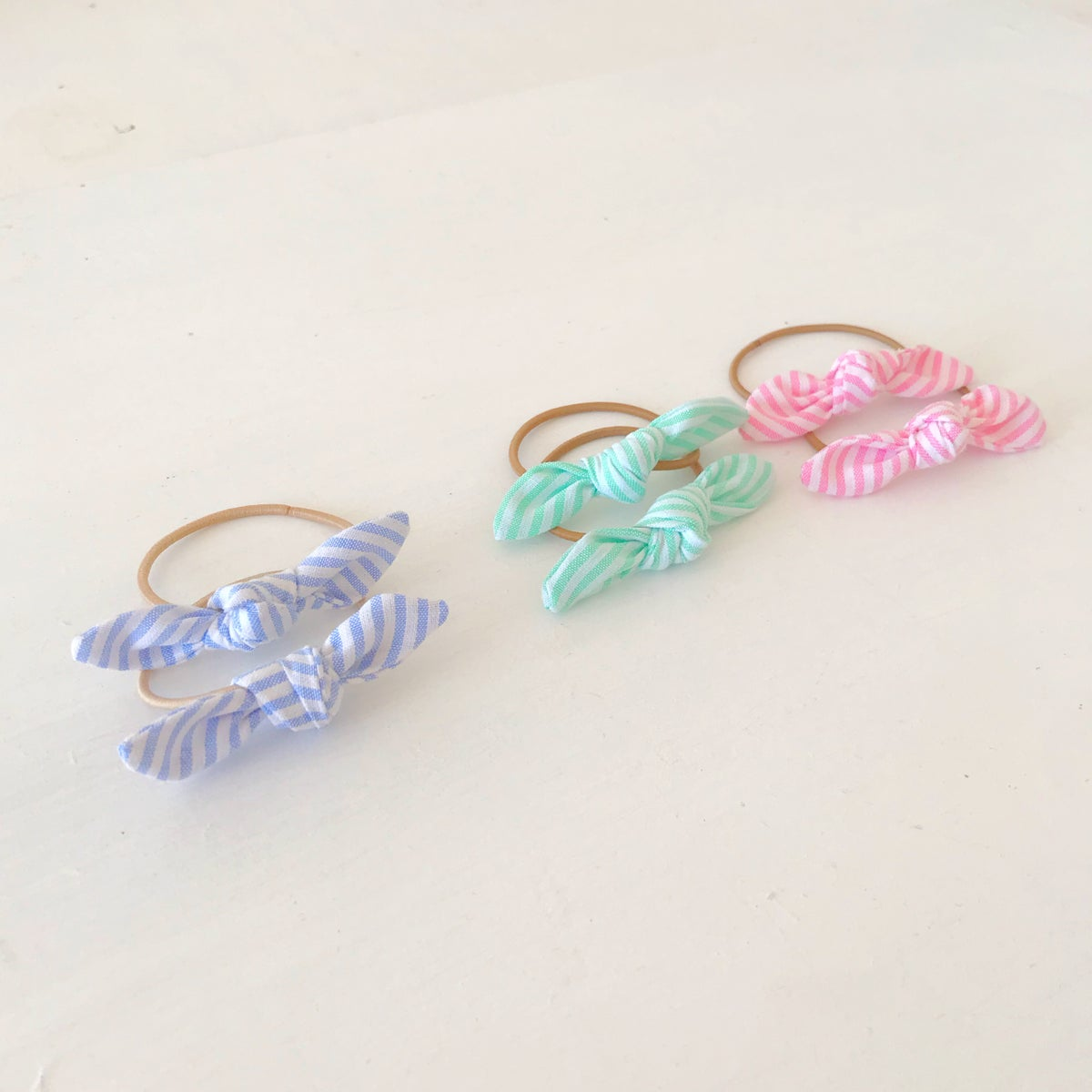 Image of Striped Mini Knotted Hair Bows