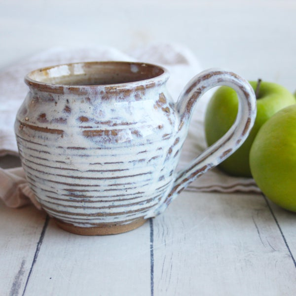 Image of Rustic Handmade Pottery Mug, White and Brown Earthy Coffee Cup, Made in USA