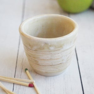 Image of Match Striker Cup, Cream Matte Glaze, Pottery Shot Glass, Handcrafted Stoneware Made in USA
