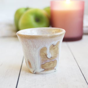 Image of Match Striker Cup in Dripping White and Ocher Glaze, Pottery Shot Glass, Made in USA