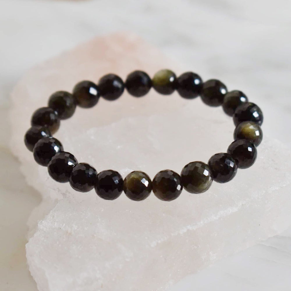 Image of Natural Dark Green Sapphire faceted cut spheres bracelet