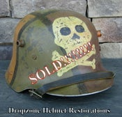 Image of Replica WWI German M-1917 Helmet & Leather Liner. Camouflage Pattern. Freikorps