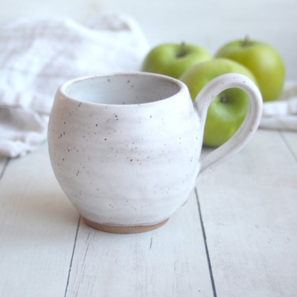 Image of Pottery Mug in Modern Matte White Glaze on Speckled Brown Stoneware, 12 oz. Made in USA