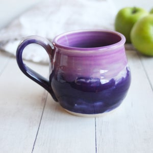 Image of Handmade Purple and Pink Mug, 14 oz. Stoneware Pottery Coffee Cup, Made in USA
