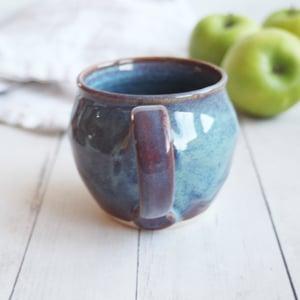 Image of Handmade Mug in Blue and Mauve Glazes, 14 ounce Pottery Coffee Cup, USA