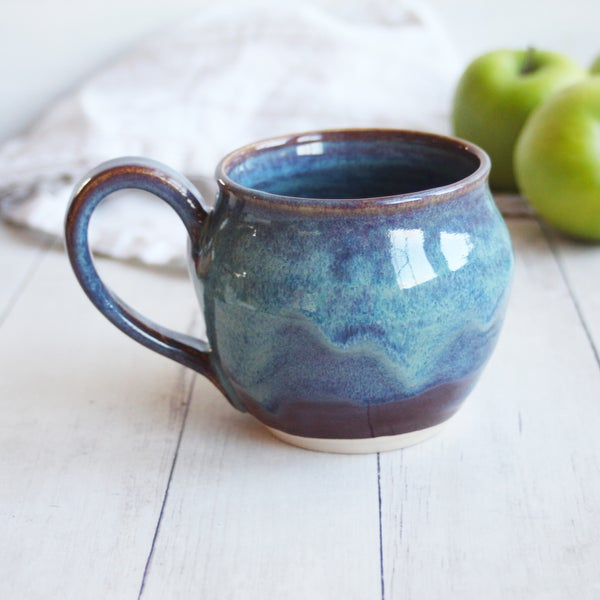 Image of Handmade Mug in Blue and Mauve Glazes, 14 ounce Pottery Coffee Cup, USA