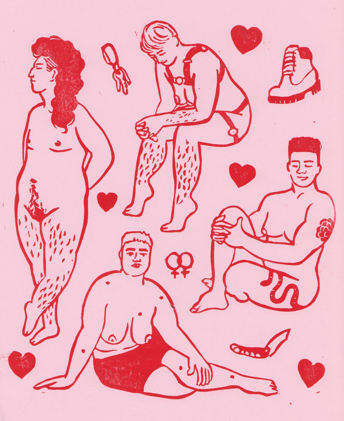 Image of Butch Bodies Lino Print