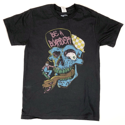Image of Be A Boarder Skull Tee - BLACK