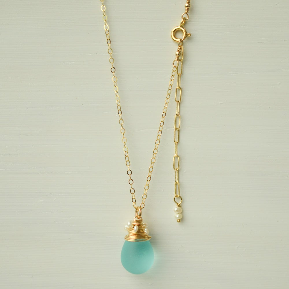 Image of Aqua Frosted Glass Necklace