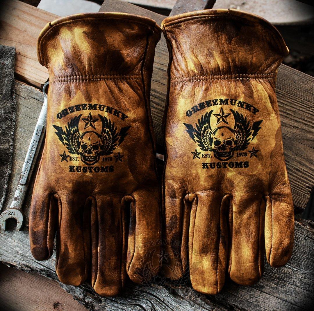 Image of Greezmunky Vintage waxed custom leather gloves