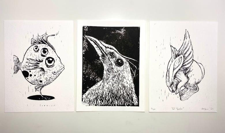 Image of TRIO Original Lino Cut Prints