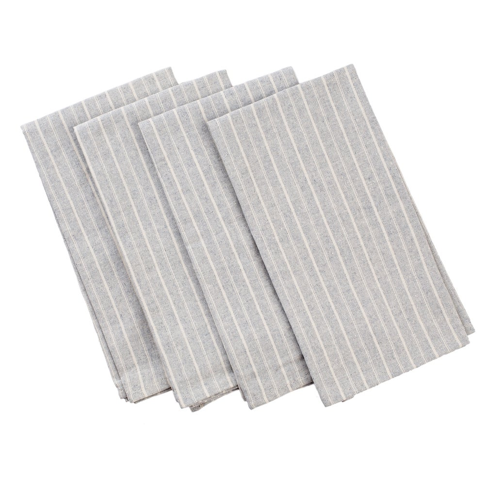 Image of Meema Striped Cotton Napkins-Dove Grey
