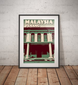Image of Vintage poster Malaysia - Penang - George Town - Green - Fine Art Print