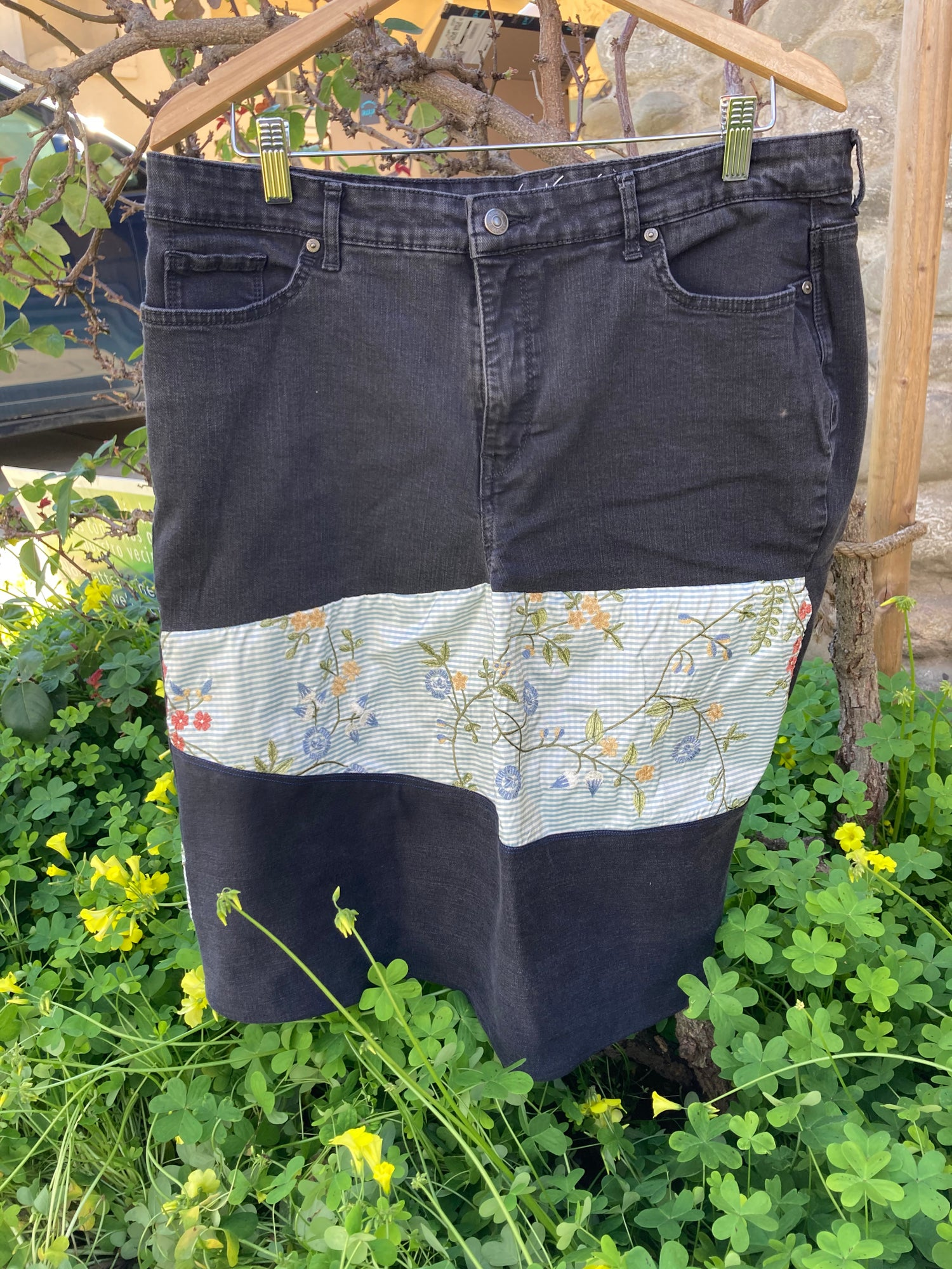 Image of Upcycled black and floral skirt