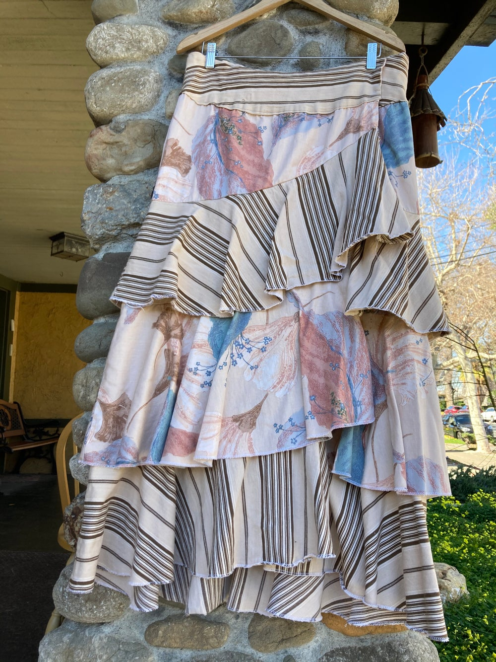 Image of Ragged Flounces Upcycled Skirt
