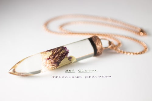Image of Red Clover (Trifolium pratense) - Large Copper Dipped Pendant