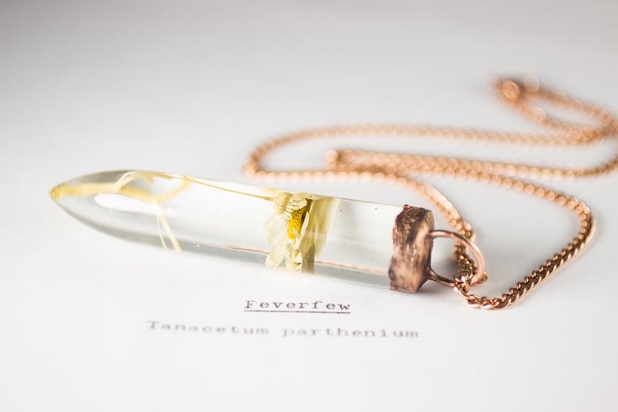 Image of Feverfew (Tanacetum parthenium) - Large Copper Dipped Pendant