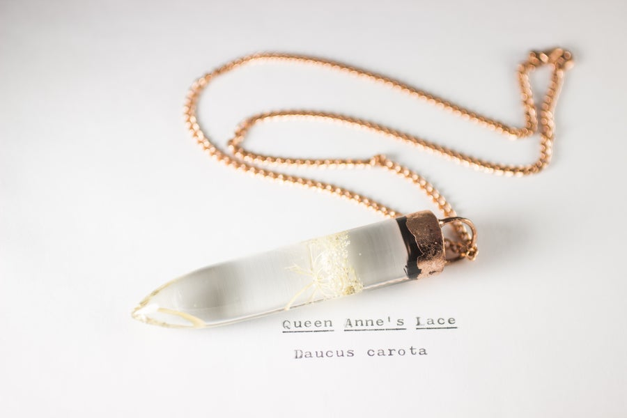 Image of Queen Anne's Lace (Daucus carota) - Large Copper Dipped Pendant
