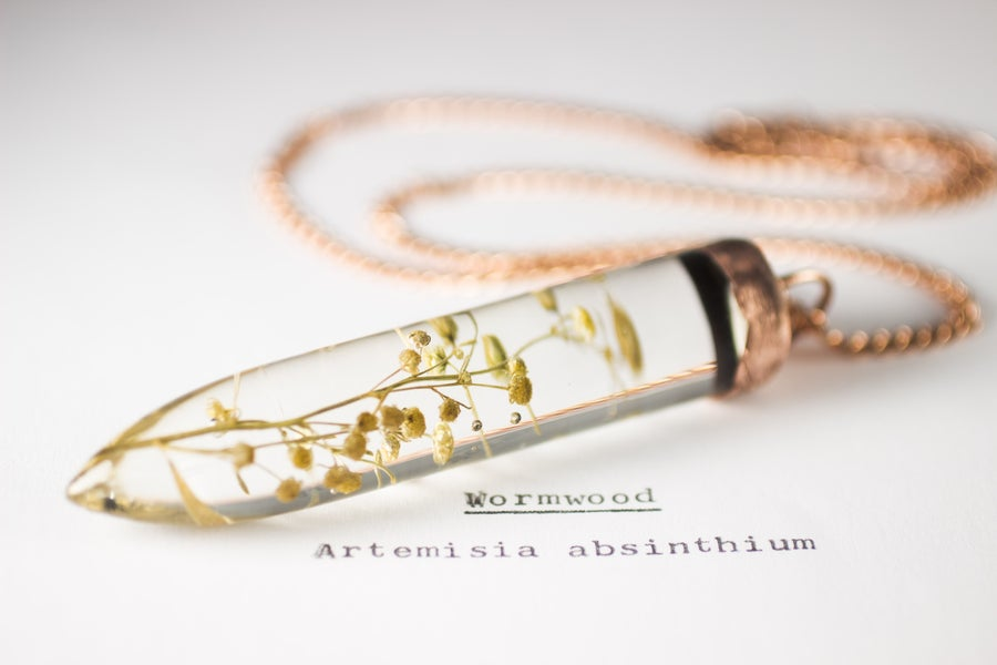 Image of Wormwood (Artemisia absinthium) - Large Copper Dipped Pendant