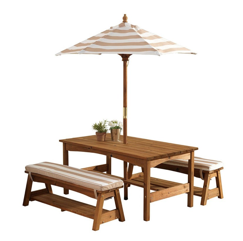 Image of OUTDOOR TABLE & BENCH SET WITH CUSHIONS & UMBRELLA - AVAILABLE IN  OATMEAL & NAVY