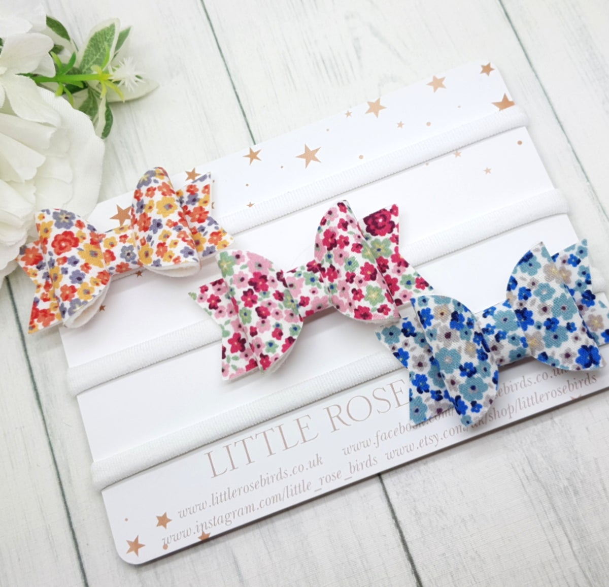 Image of Set of 3 Ditsy Floral Bows