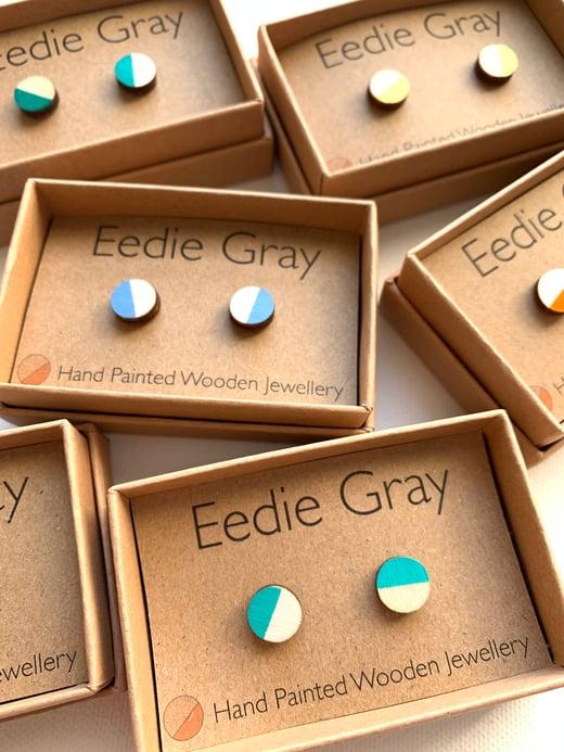 Eedie Gray Wooden Disc Earrings