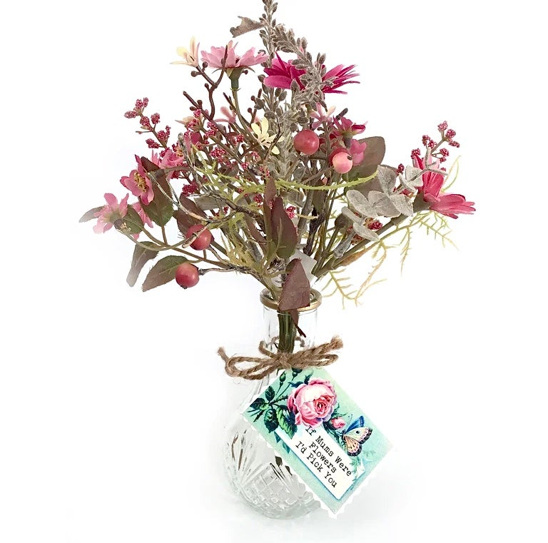 Image of Mother's Day Faux Wildflower Bunch in a vintage style vase and Gift Tag